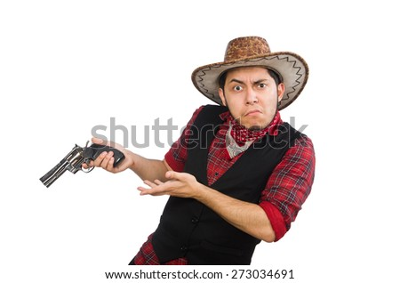 Young cowboy isolated on white - stock photo
