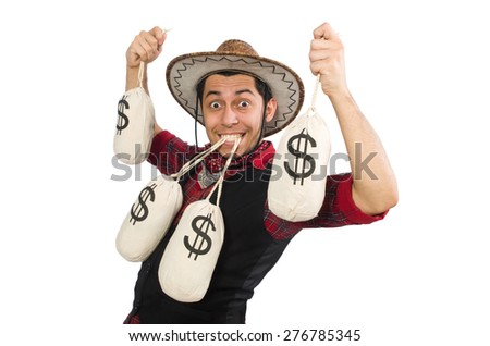 Young cowboy with money bags isolated on white - stock photo