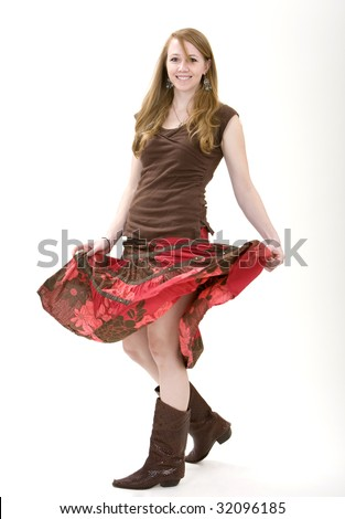Young Cowgirl Twirling Around