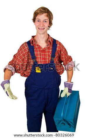 Young craftsman with toolbox - isolated on white - stock photo