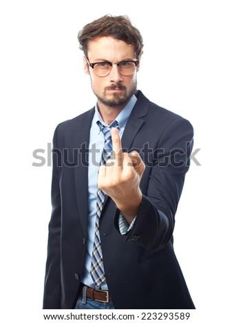 young crazy businessman disagree gesture - stock photo