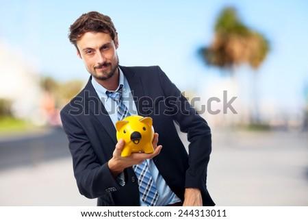 young crazy businessman savings concept - stock photo