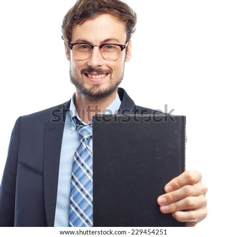 young crazy businessman with a book