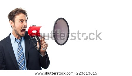 young crazy businessman with a megaphone - stock photo