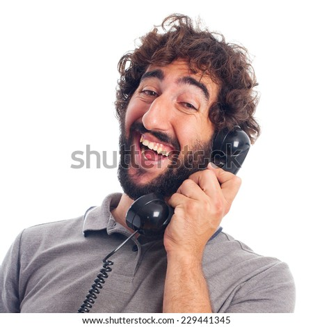 young crazy man happy at phone - stock photo