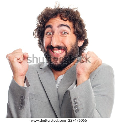 young crazy man. happy concept - stock photo