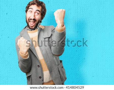 young crazy man happy expression - stock photo