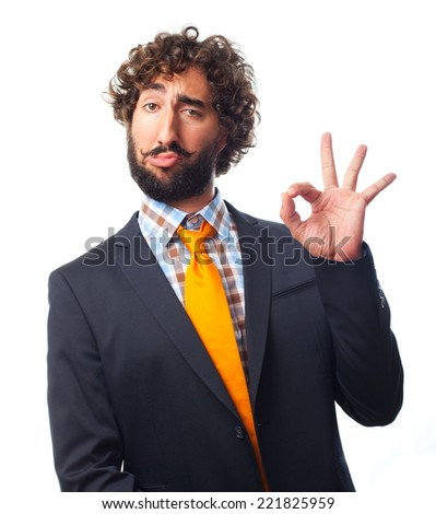 young crazy man okay gesture - stock photo