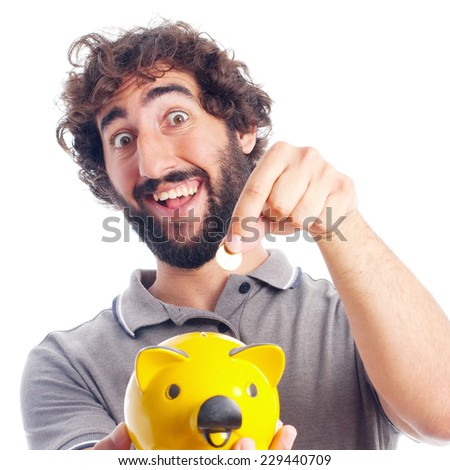 young crazy man savings concept - stock photo