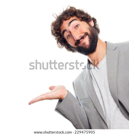 young crazy man show gesture - stock photo