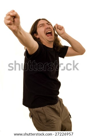 young crazy man singing and dancing rock and roll white isolate - stock photo