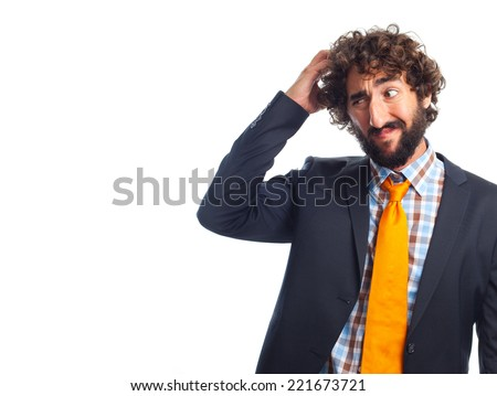 young crazy man thinking - stock photo