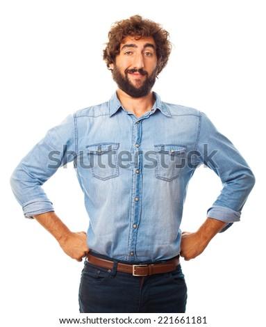 young crazy proud man - stock photo