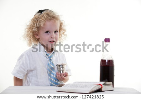 Young curly haired jewish caucasian toddler boy - stock photo