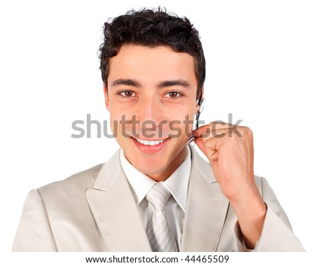 Young customer service representative using headset against a white background