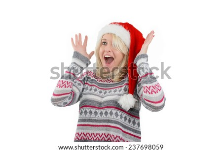 Young cute blonde woman is throwing up hands - stock photo
