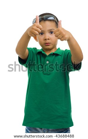 young cute boy showing thumbs up, isolated on white - stock photo