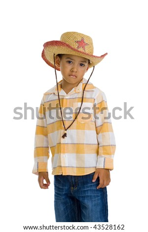 young, cute boy with cowboy hat, isolated on white background - stock photo