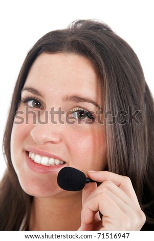 Young cute call center female operator portrait isolated on white - stock photo