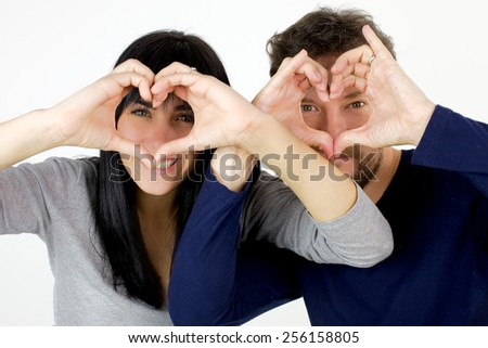 Young cute couple smiling happy - stock photo