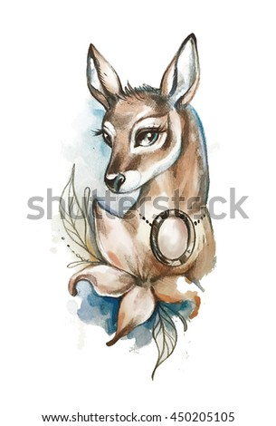 Young cute deer with flower watercolor illustration  - stock photo