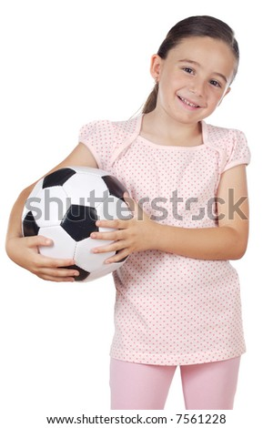 young cute girl holding a soccer ball over white background - stock photo