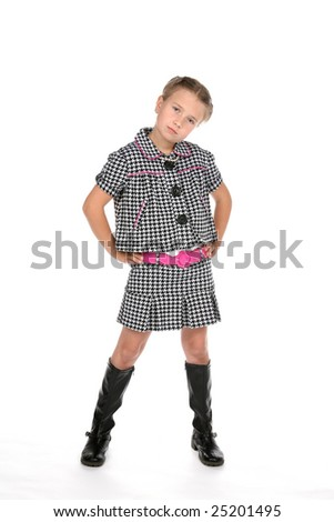 young cute girl in stylish black and white clothes