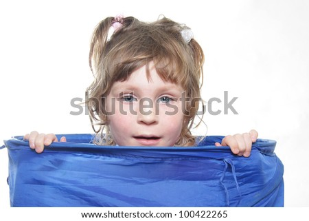 young cute girl playing over white