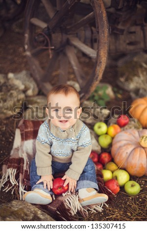 Young cute little boy sitting outdoors in autumn. Pumpkins laying around - stock photo