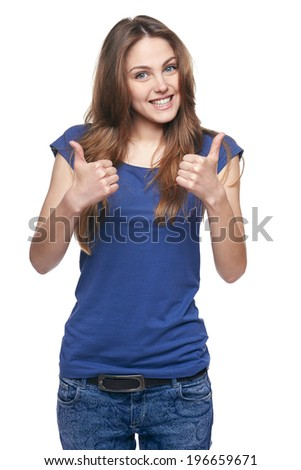 Young cute smiling emotional girl giving you double thumb up, isolated on white - stock photo