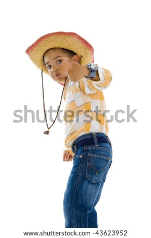 young cute space cowboy with thumb up, isolated on white - stock photo