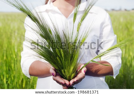 Young cute woman holding ears of wheat in the hands - stock photo