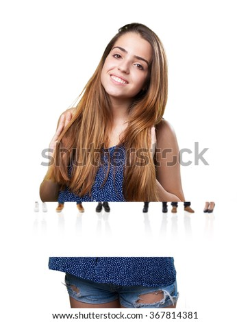 young cute woman smiling on a white background - stock photo