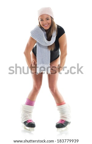Young cute woman with Skates. White background