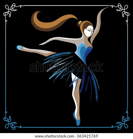 Young dancer (ballerina). Suitable for invitation, flyer, sticker, poster, banner, card,label, cover, web.