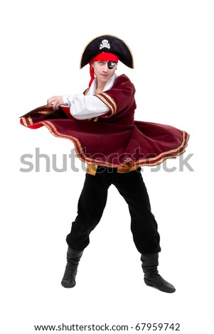young dancer dressed as pirate seated dancing against isolated white background - stock photo