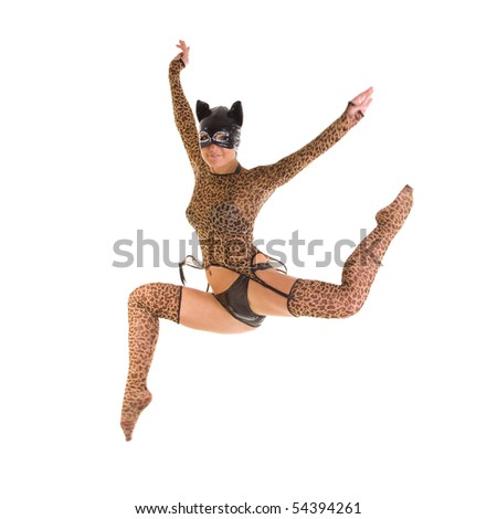 Young dancer in catsuit jumping. Isolated over white background