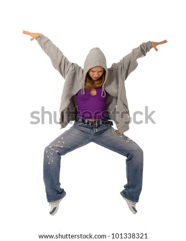 young dancer in the dance of modern jazz, jump on a white background - stock photo