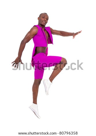Young dancer jumping on a white background - stock photo