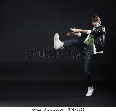 Young dancer, lots of copyspace - stock photo