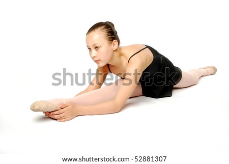 Young Dancer stretching on white background