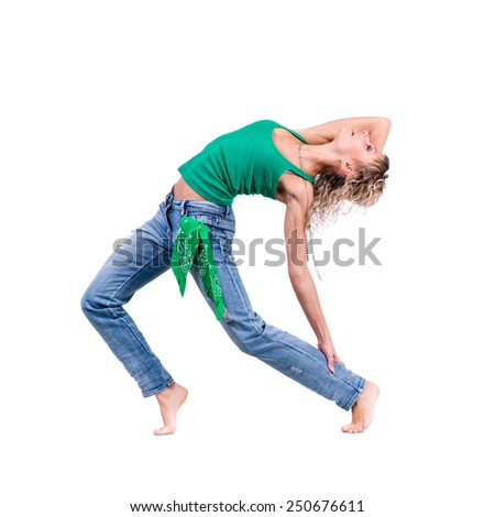 young dancer woman dancing against isolated white background - stock photo