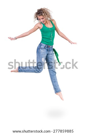 young dancer woman  jumping against isolated white background - stock photo