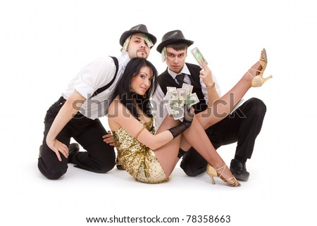 young dancers posing on white - stock photo