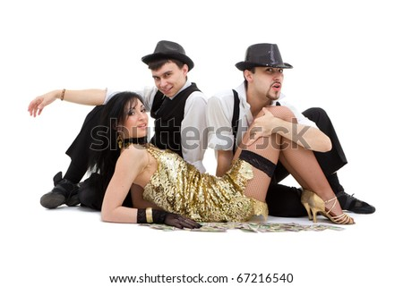 young dancers sitting on white background - stock photo