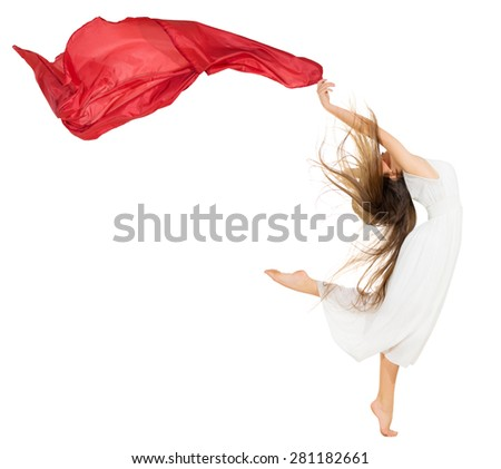 Young dancing girl in white dress isolated - stock photo