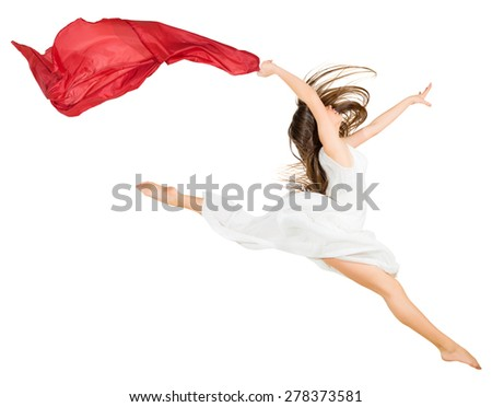 Young dancing girl isolated on white - stock photo