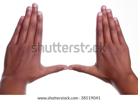 Young dark skinned mixed race child s, thumbs together palms down hand gesture, isolated on white background