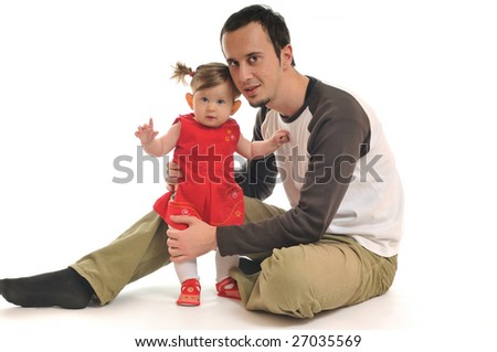 young daughter play with beautiful daughter isolated on white - stock photo