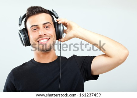 Young deejay portrait - stock photo